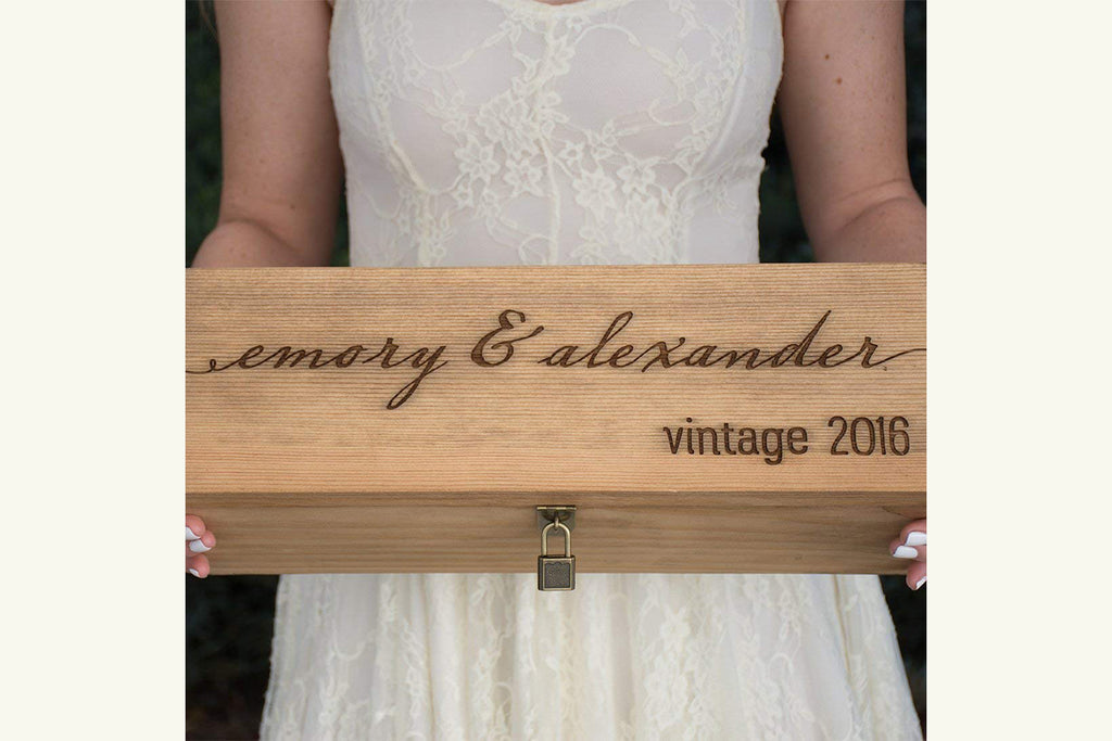 Engraved Wine Box - First Names and Vintage, Custom Text