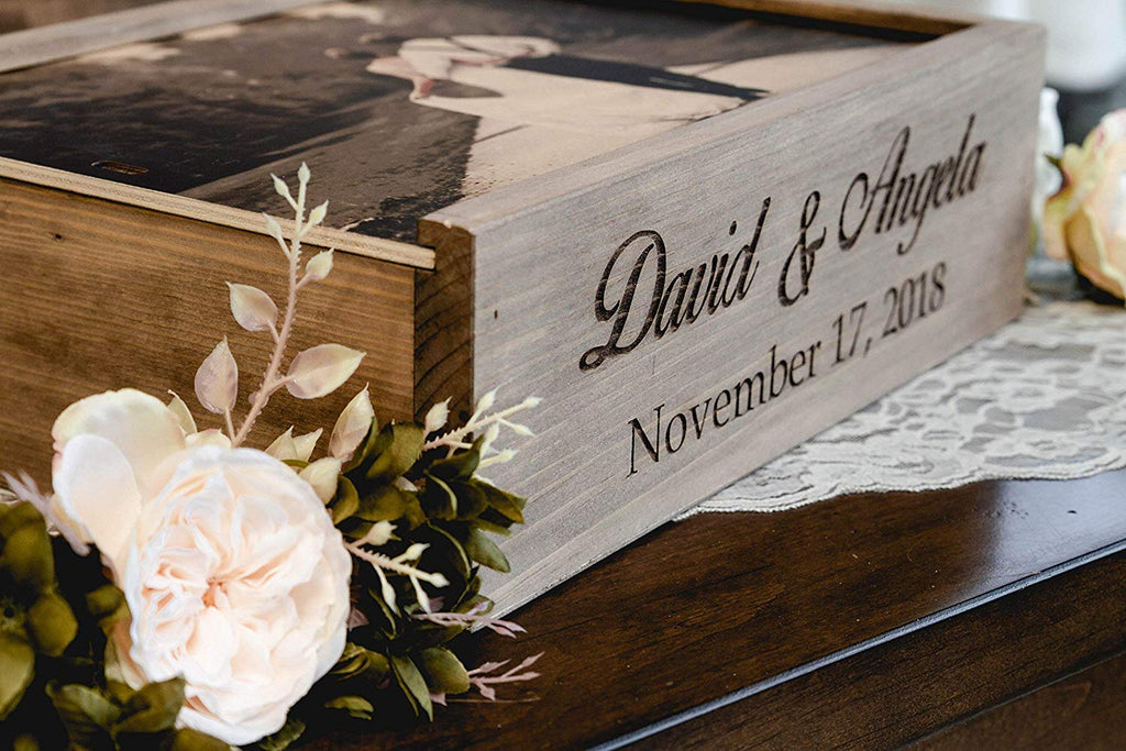Wine and Letter Box Keepsake for Wedding Ceremony, Custom Photo on Wood Lid with First Names & Date Engraved on Side