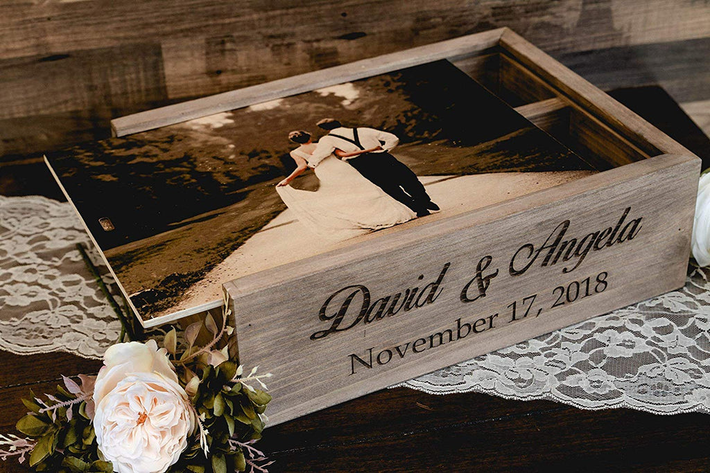 Personalized Wine and Letter Box Keepsake for Wedding Ceremony, Custom Photo on Wood Lid with First Names & Date Engraved on Side