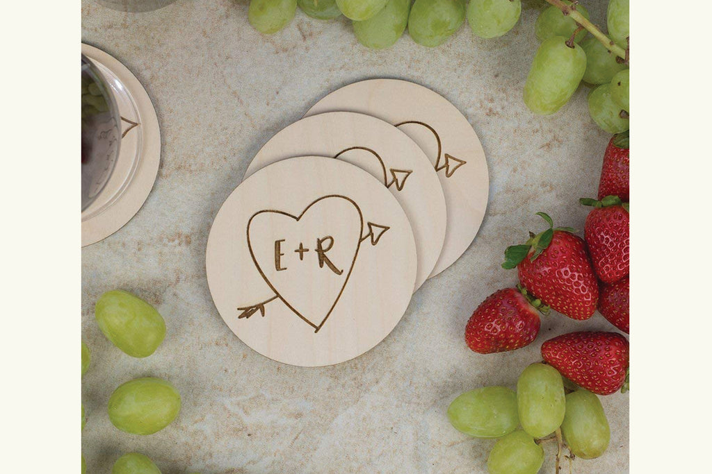 Coaster Set - Initials in Heart with Arrow, Personalized