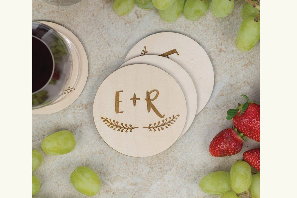 Coaster Set - Initials in Heart with Wreath, Personalized