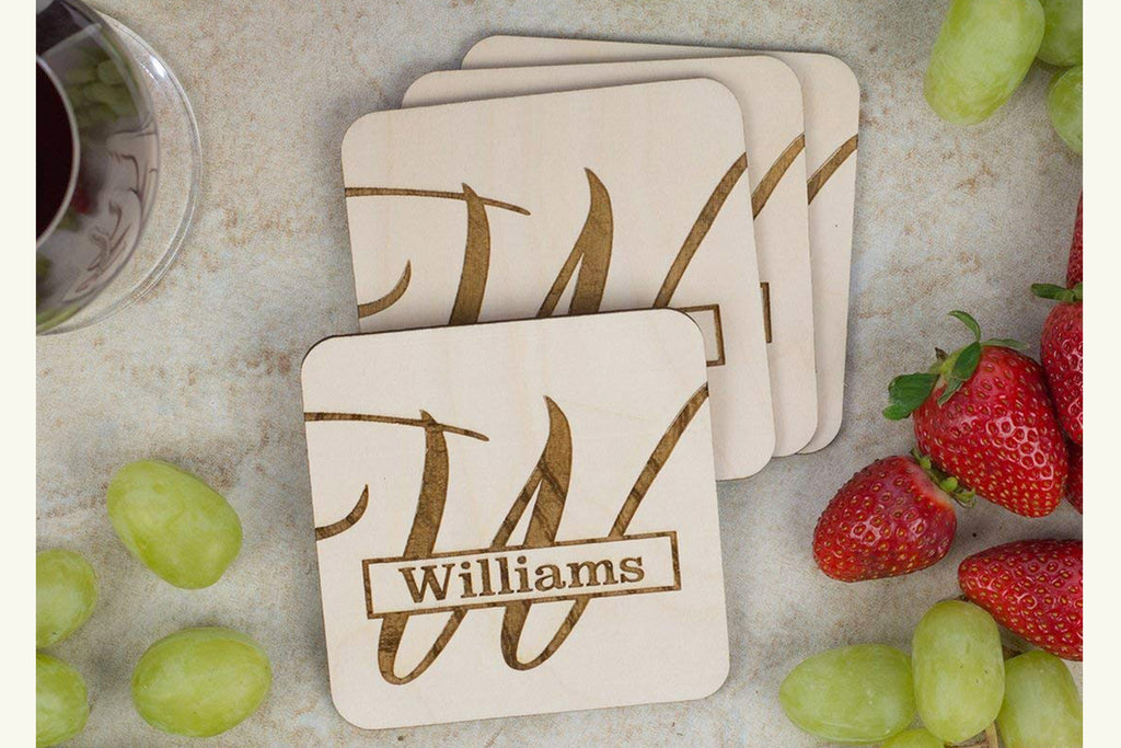 Coaster Set - Personalized with Last Name and Monogram