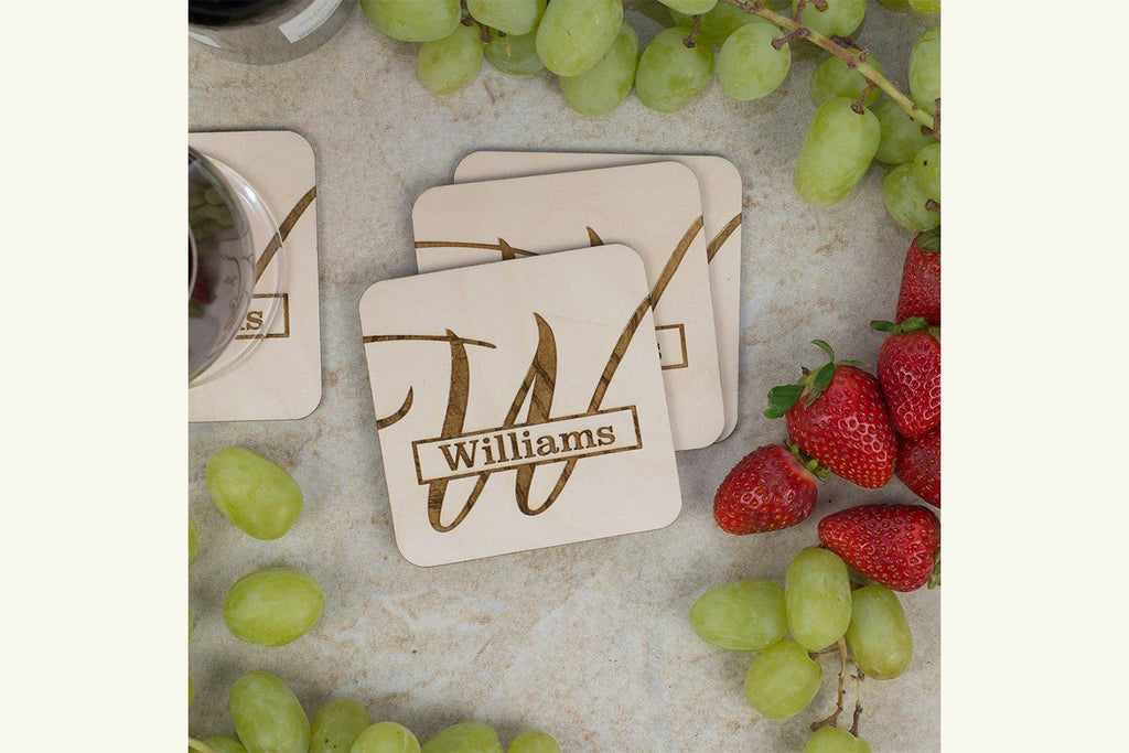 Personalized Coaster Set - Engraved Wood - Last Name and Monogram