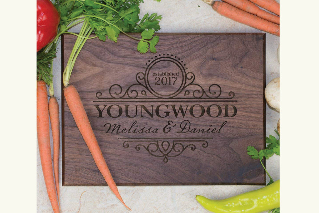 Cutting Board - Personalized with Client First & Last Name, Established Year Swirly Design