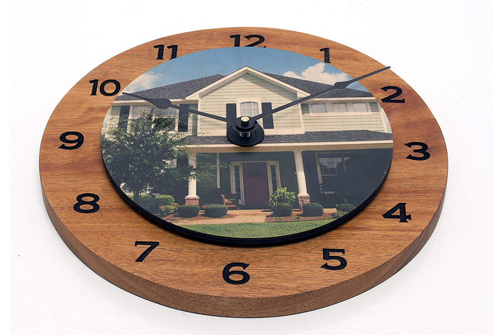 Handmade Solid Mahogany or Walnut and Birch Clock Personalized with Client House Photo