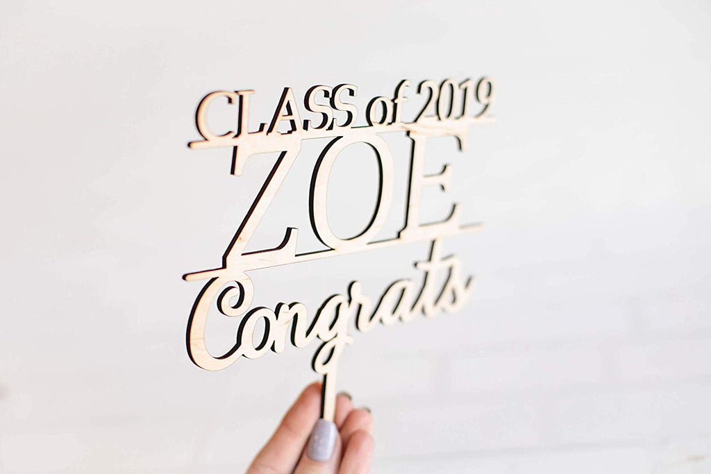 Graduation Wood Cake Topper - Personalized with Class of Year and Name