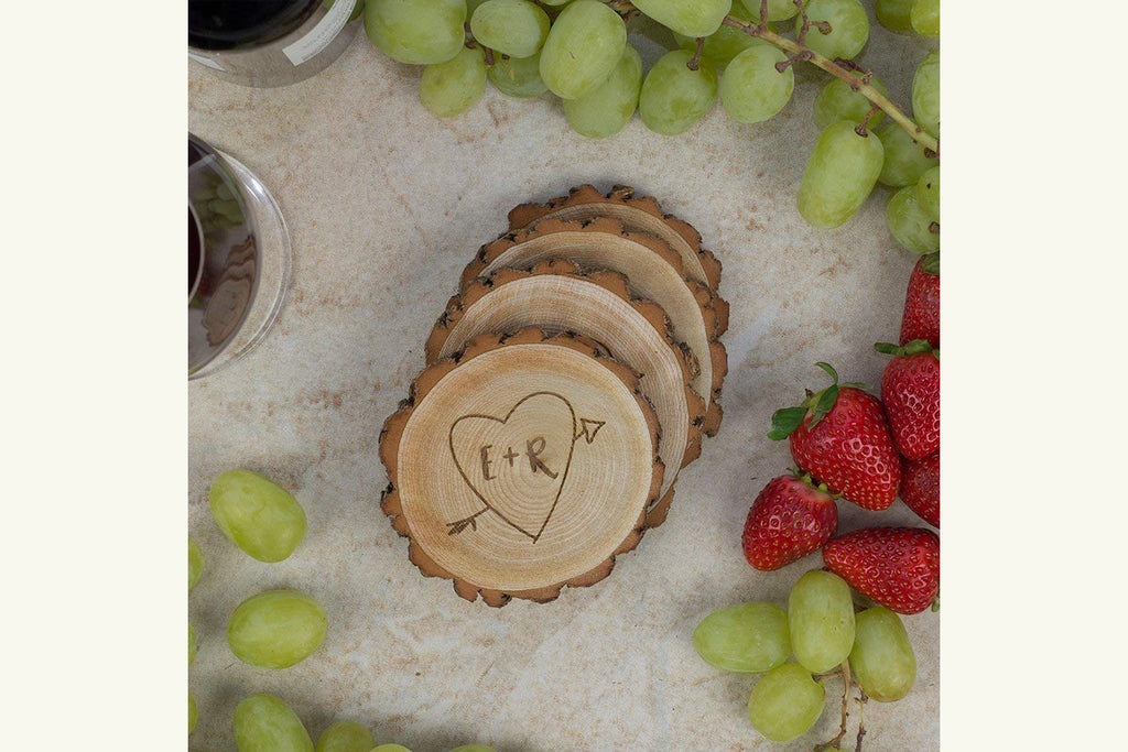 Personalized Rustic Tree Slice Coaster Set -  Initials in Heart with Arrow