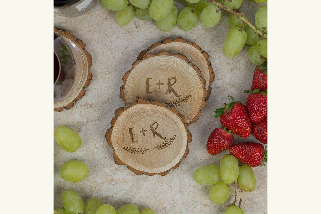 Personalized Rustic Tree Slice Coaster Set - Engraved Wood - Initials with Wreath