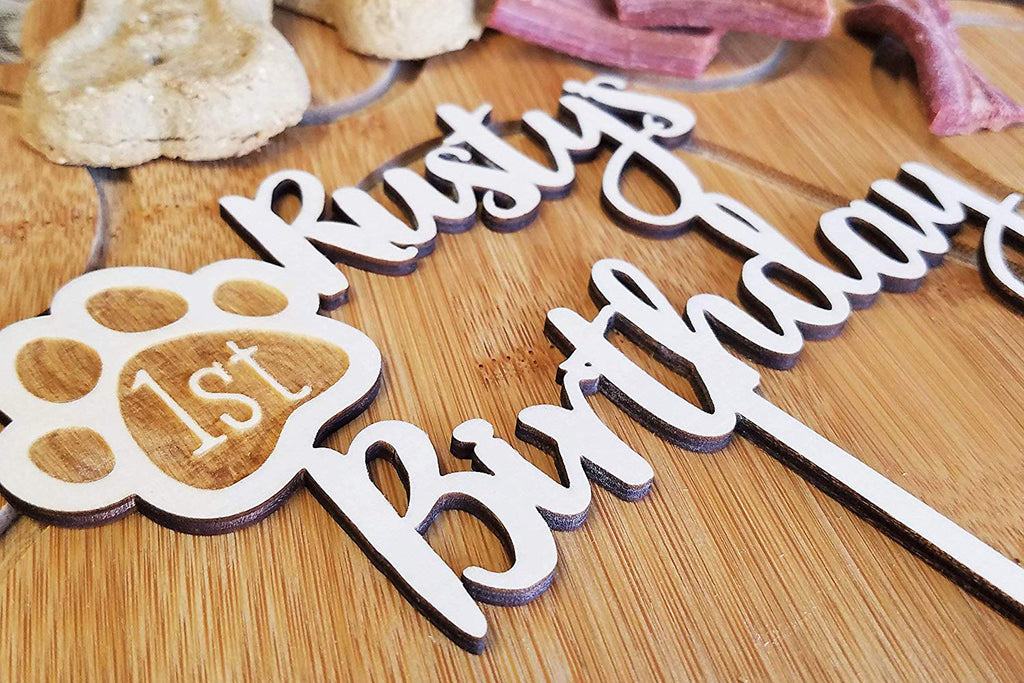 Dog Birthday Wood Cake Topper with Paw Print - Personalized with Name and Year/Age