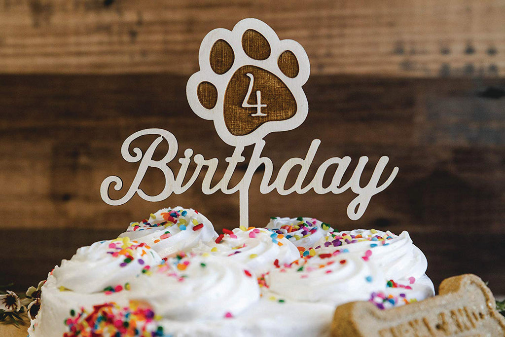 Dog Birthday Wood Cake Topper with Paw Print - Personalized with Year/Age