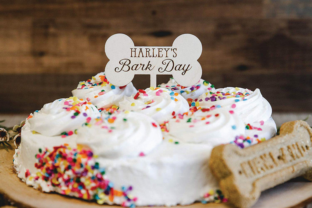 Dog Birthday Wood Cupcake Topper - Personalized Bark Day Bone with Name