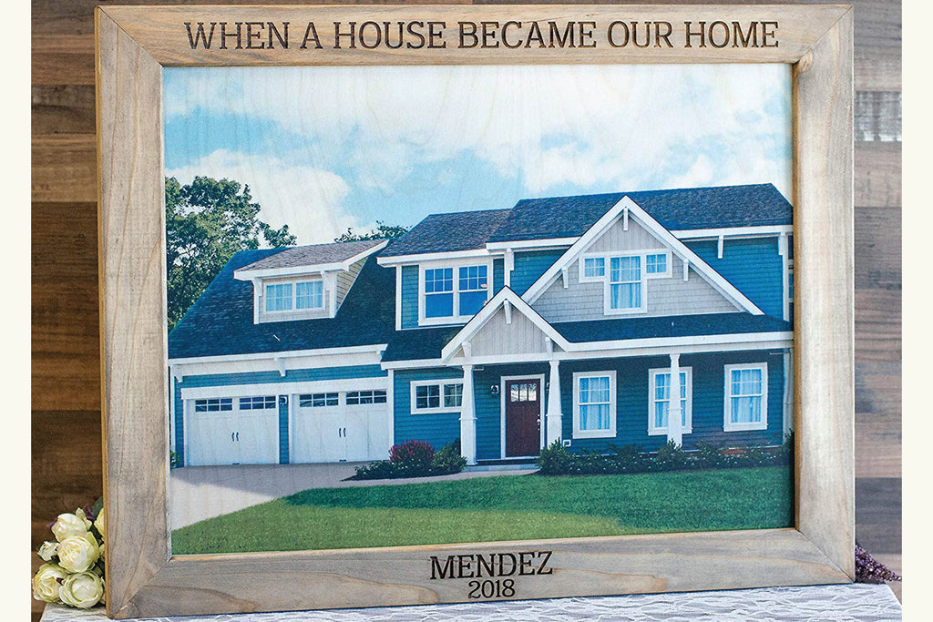 Frame Custom Photo On Wood with Client Last Name and Date Engraved - When A House Became Our Home