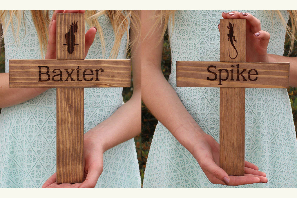 Pet Name Memorial Cross - Personalized Wood Burial Grave Marker for Dogs, Cats, Reptiles
