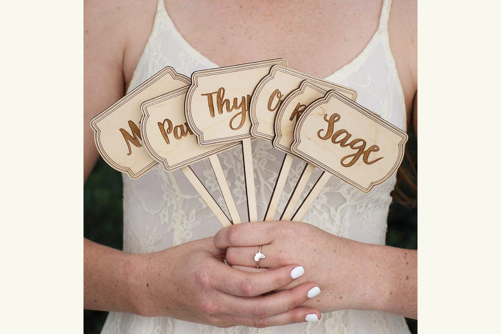 Engraved Wood Herb Garden Set of 9 Sign Marker Labels