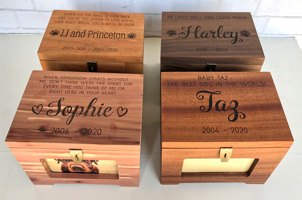 Premium Wood Personalized Pet Memory Box/Urn with Name and Quote or Poem
