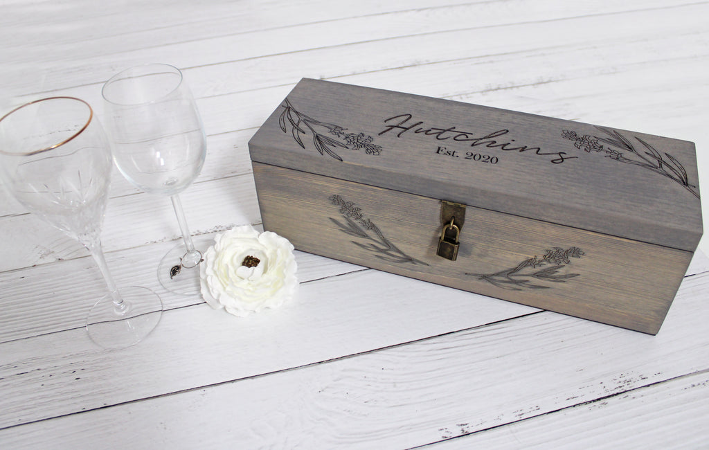 Wine Box with Lock | Lavender Floral Wreath | Personalized with Name and Date