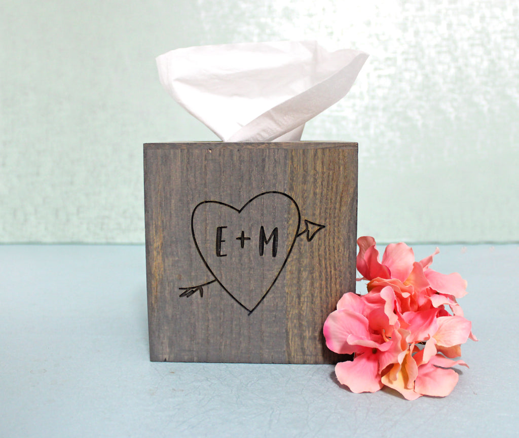 Wood Tissue Box Cover | Initials in Heart with Arrow