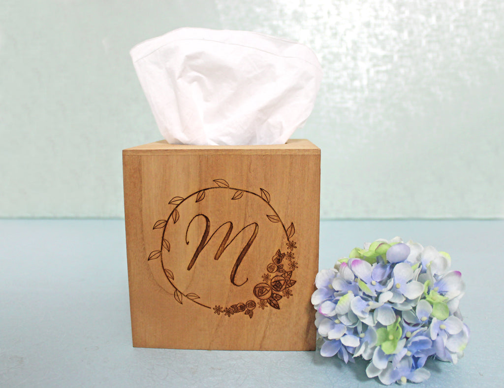 Wood Tissue Box Cover | Personalized Monogram Initial in Rosebud Wreath