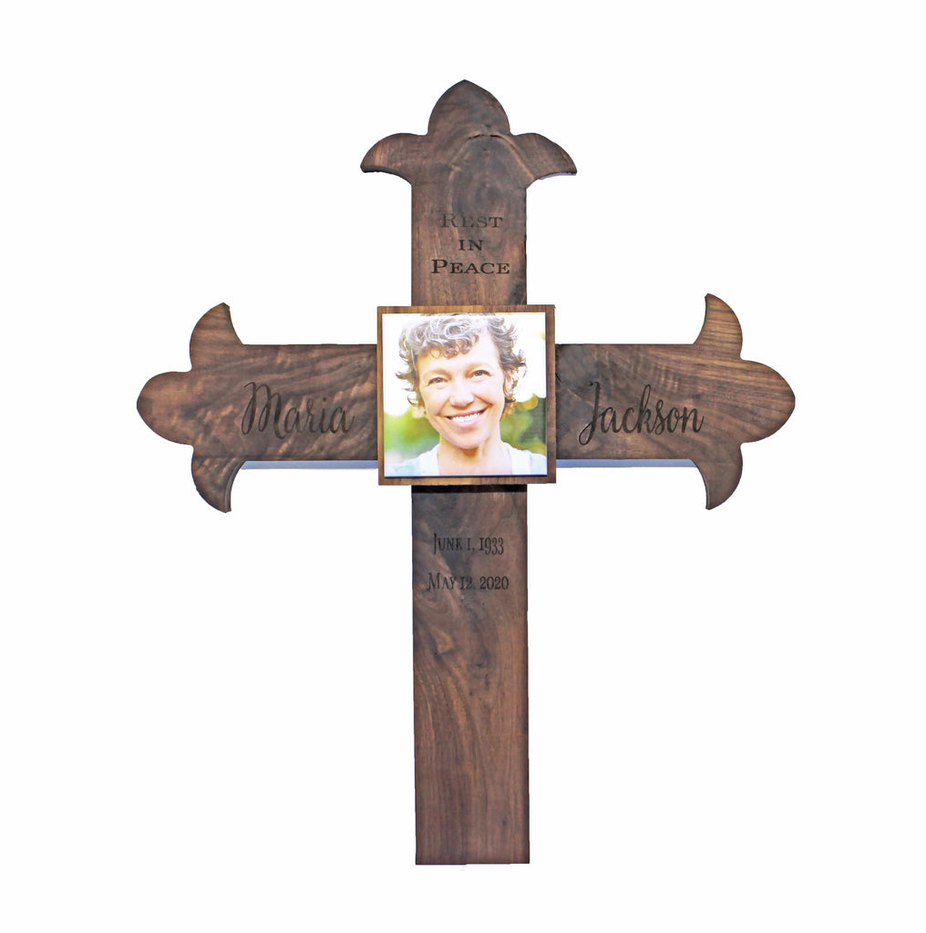 Memorial Cross Personalized for Your Loved One - Ornate Style