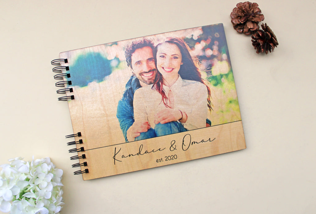 Photo Album or Guest Book - Personalized Photo Cover Print, Names, Date