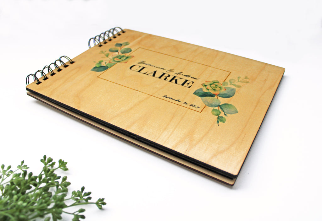 Photo Album or Guest Book - Personalized Names, Date in Eucalyptus Succulent Design