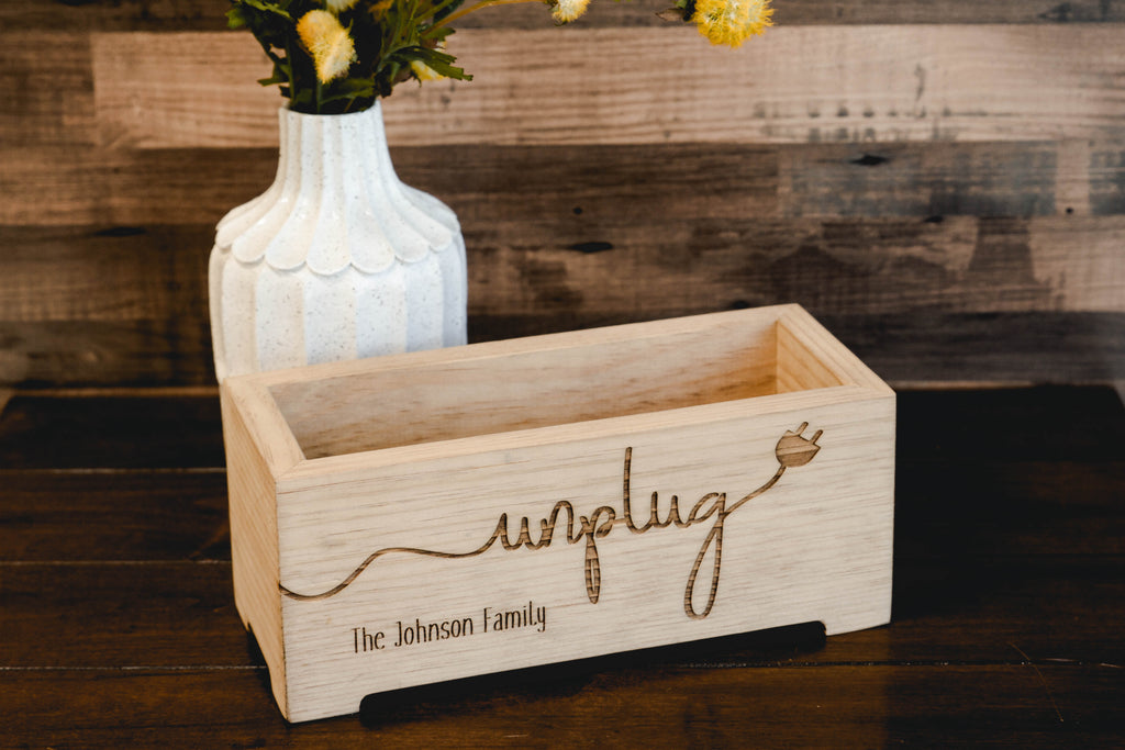 Unplug Box Rustic Wood Planter - Personalized Family Cell Phone Holder