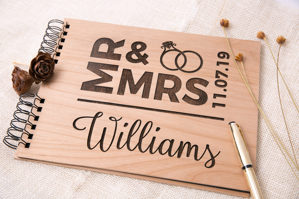 Photo Album or Guest Book - Personalized Mr & Mrs Last Name, Date