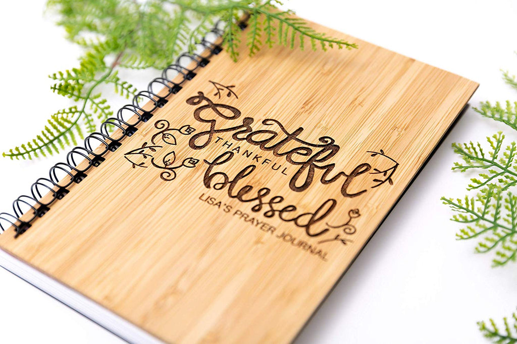 Grateful Thankful Blessed Wood Journal
