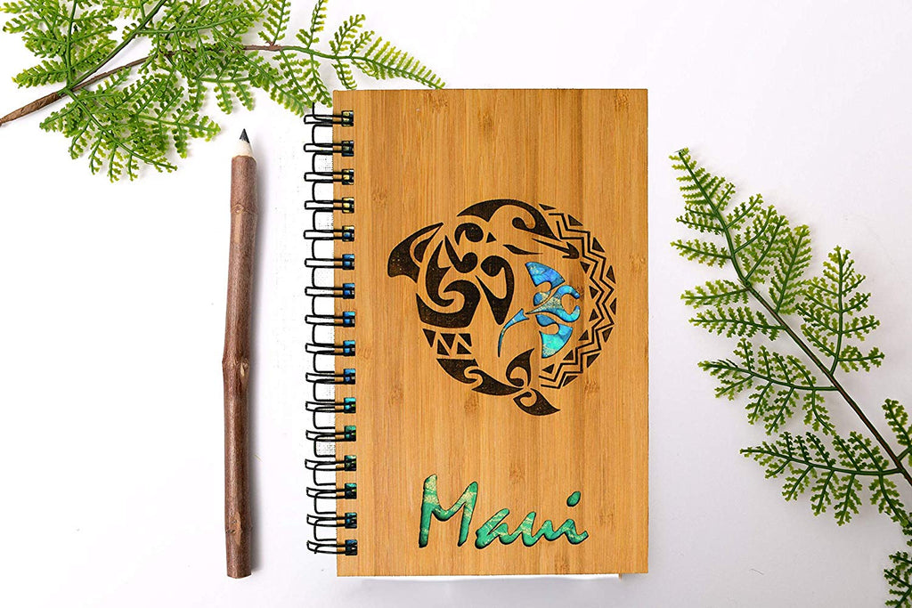 Maui Tribal Dolphin Personalized Wood Journal