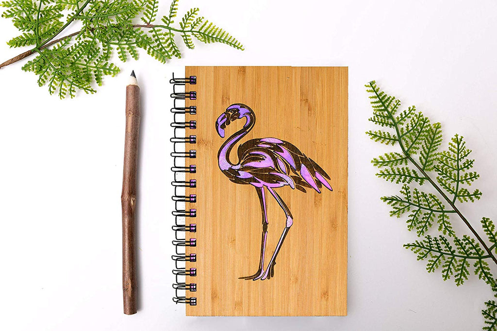 Pink Flamingo Personalized Wood Journal