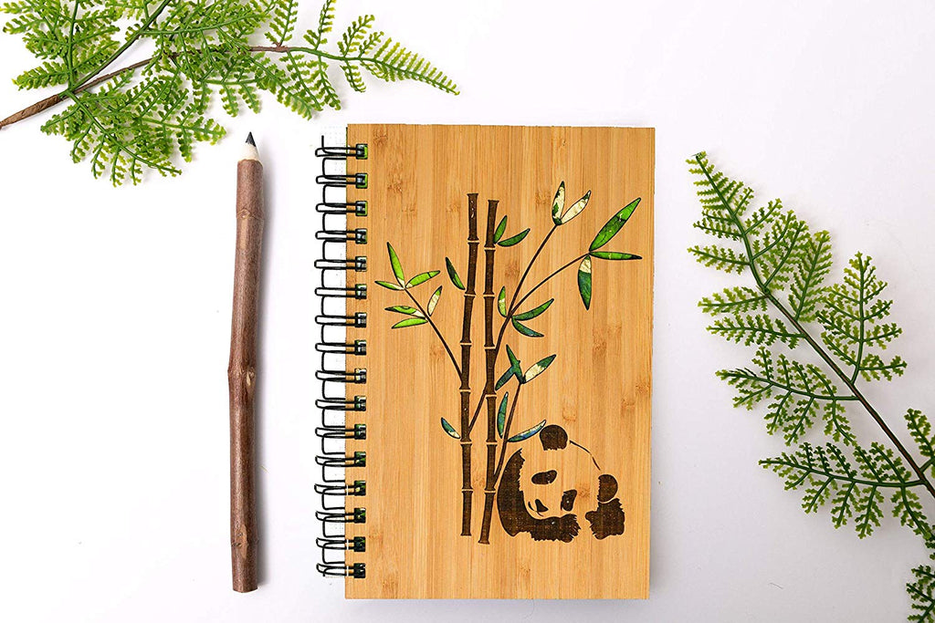 Panda Bear Personalized Wood Journal