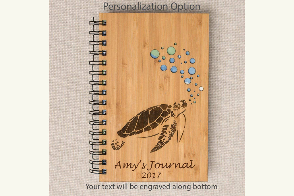 Sea Turtle Personalized Wood Journal