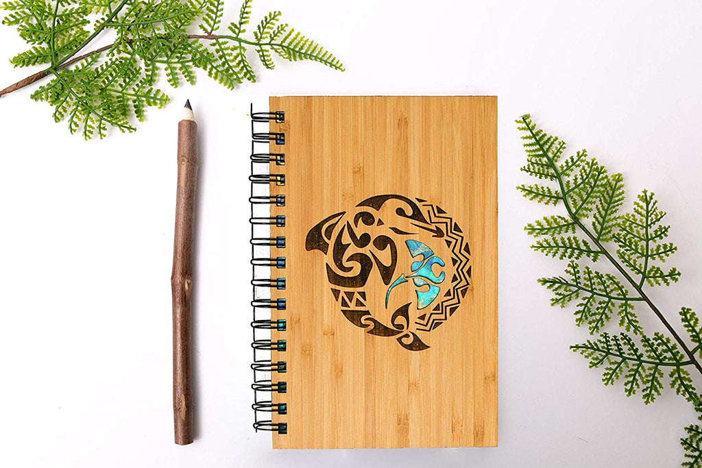 Tribal Dolphin Personalized Wood Journal