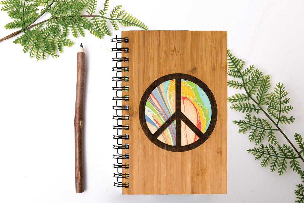 Peace Sign Personalized Wood Journal