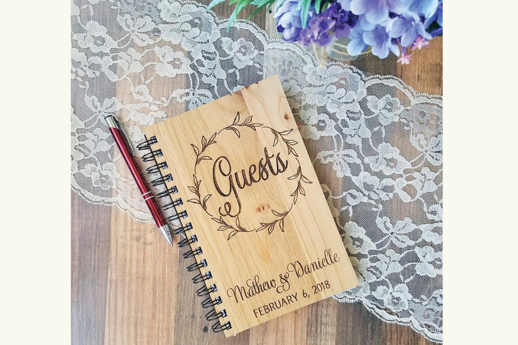 Wedding Guestbook, Personalized Wood Book Journal