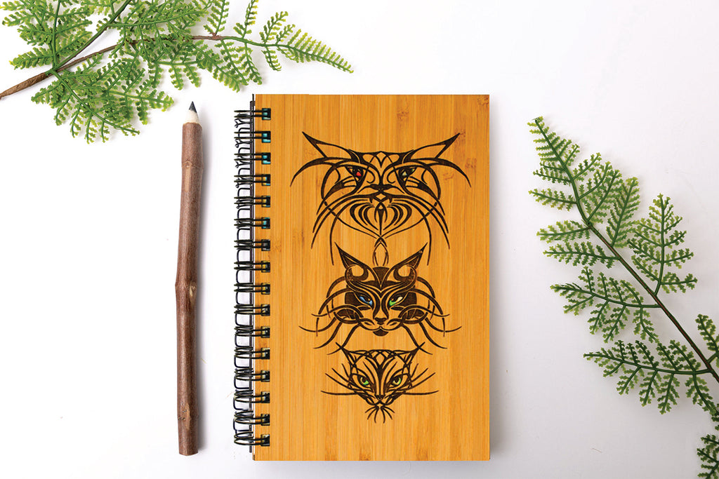Tribal Cat Personalized Wood Journal