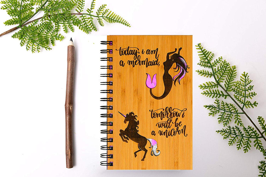 Mermaid & Unicorn Personalized Wood Journal