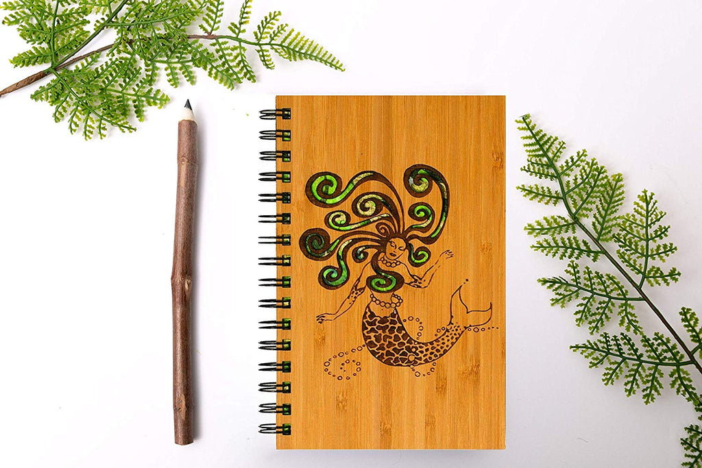 Mermaid Personalized Wood Journal