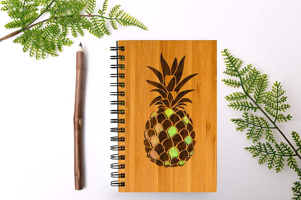 Pineapple Personalized Wood Journal