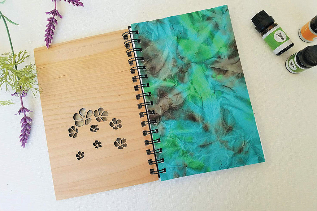 Essential Oil Flowers Personalized Wood Journal