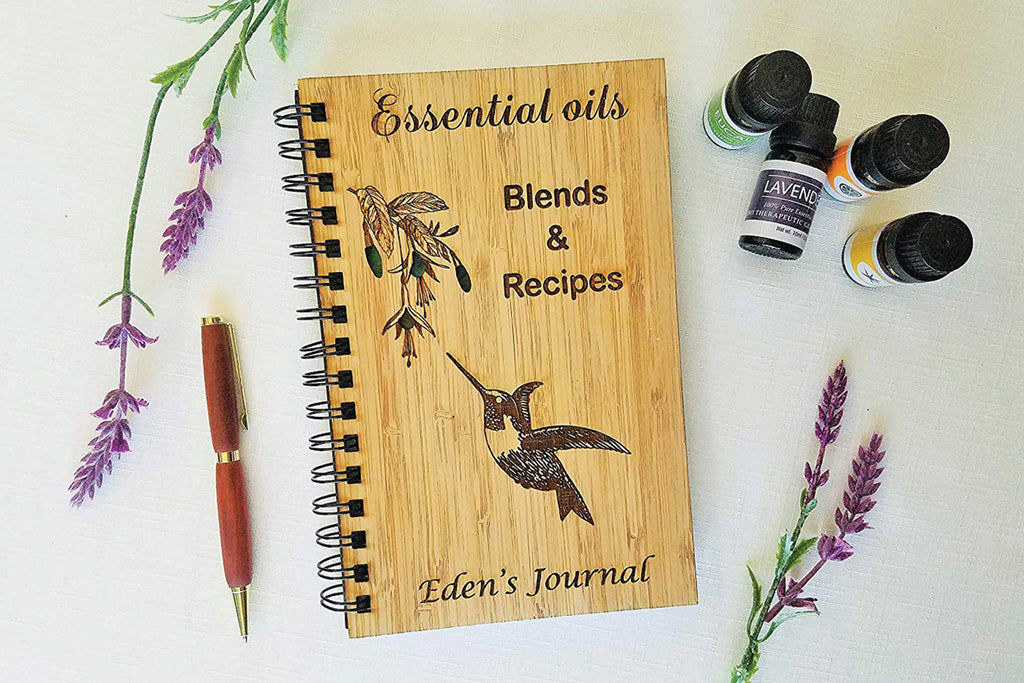 Essential Oil Hummingbird Personalized Wood Journal