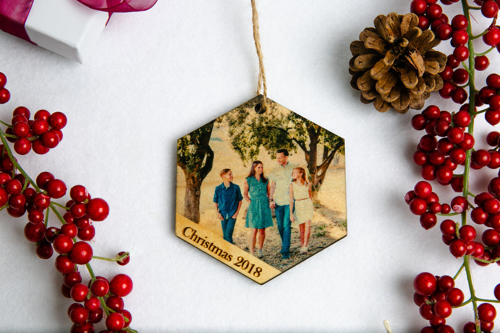 Personalized Photo Wood Hexagon Christmas Ornament - Your Custom Photo