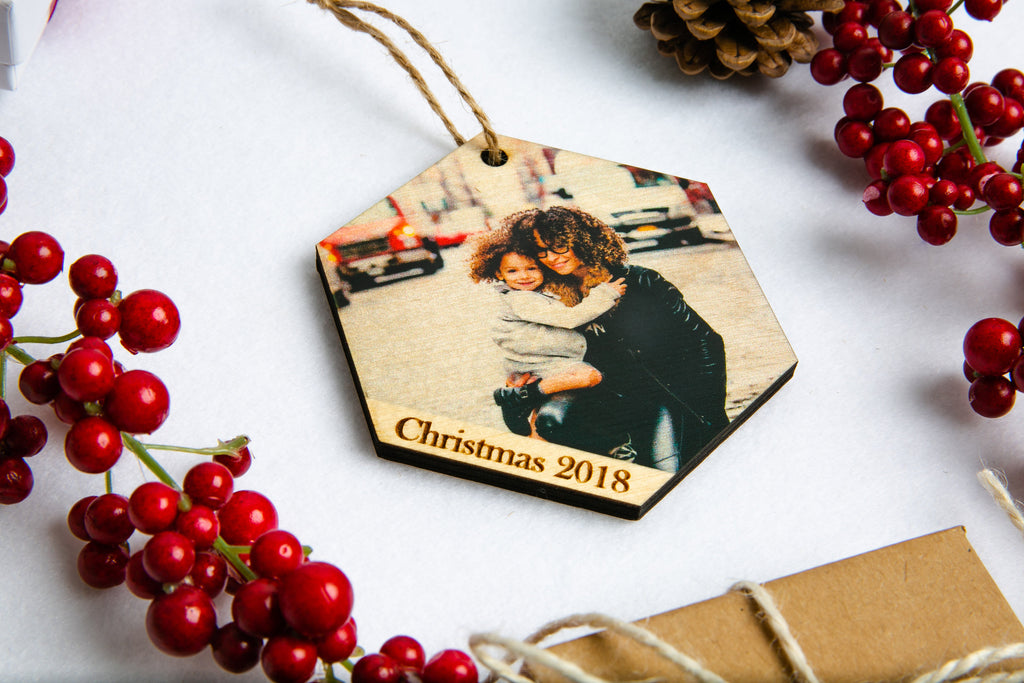 Photo Wood Hexagon Christmas Ornament - Your Custom Photo, Personalized