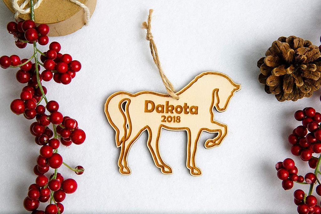 Horse Christmas Ornament - Personalized with Name and Date