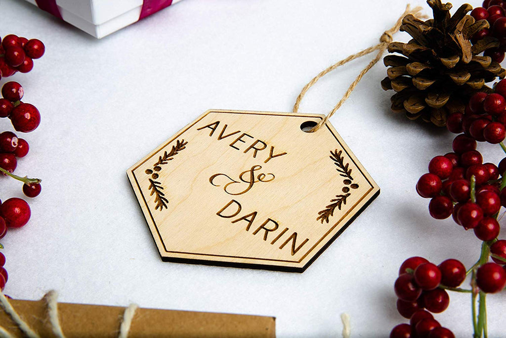 Couple Christmas Ornament - Personalized Engraved Wood Hexagon