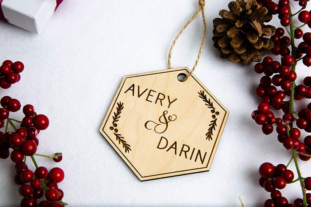 Personalized Couple Christmas Ornament - Engraved Wood Hexagon