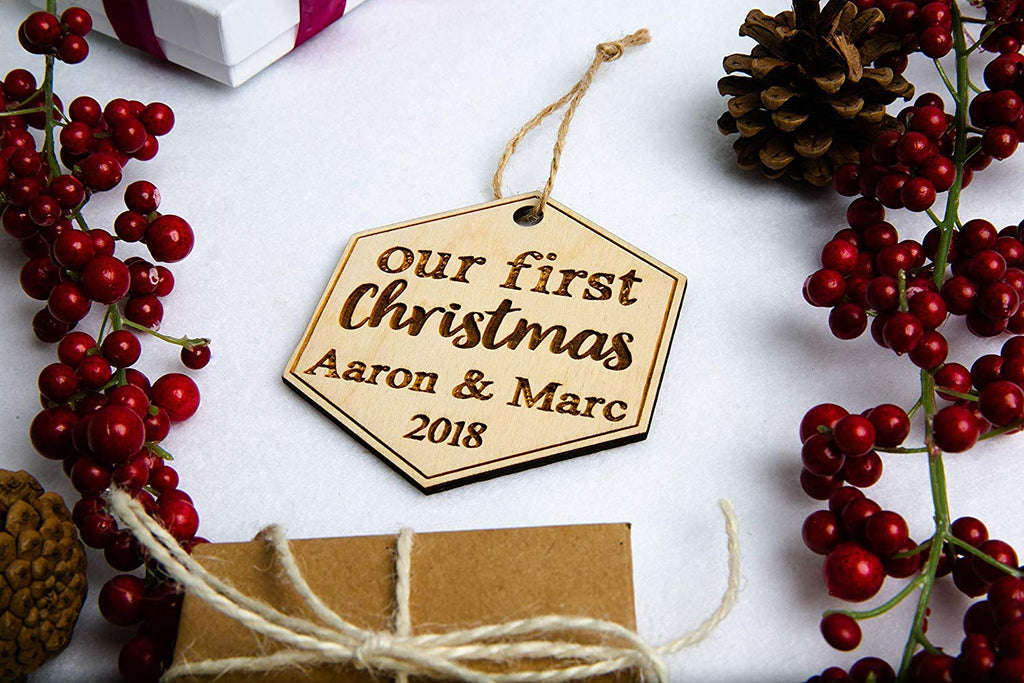 Personalized Our First Christmas Ornament - Cursive Script Font