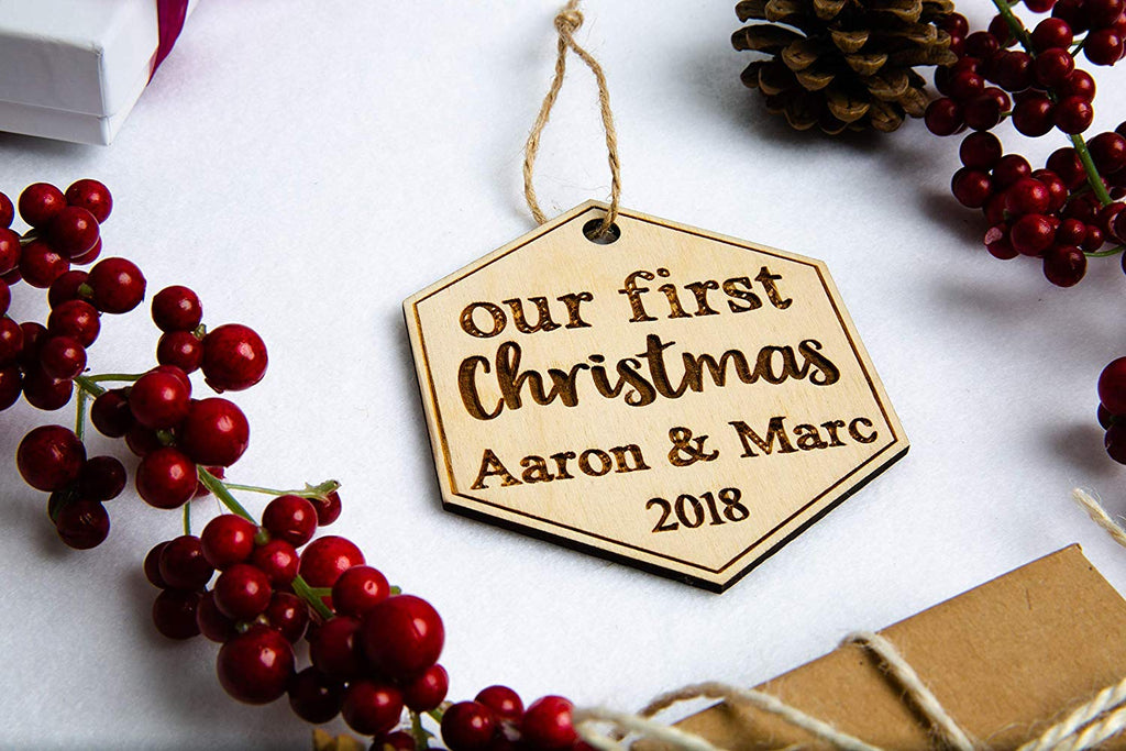 Our First Christmas Ornament - Cursive Script Font, Personalized