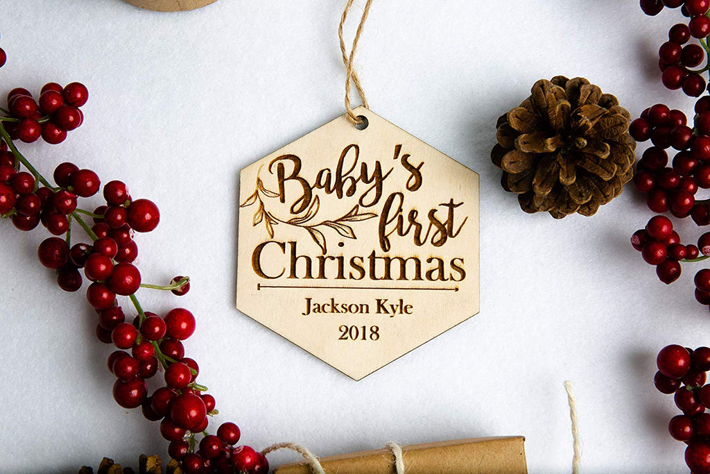 Baby's First Christmas Personalized Ornament - Hexagon