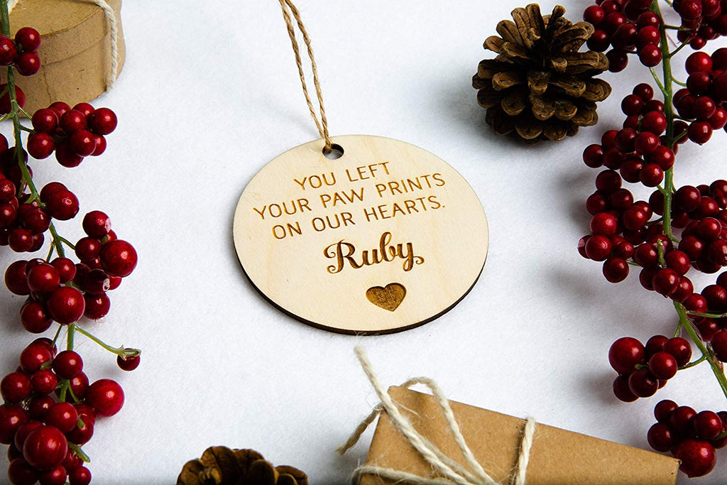 You Left Paw Prints On Our Hearts - Personalized Pet Christmas Ornament or Magnet